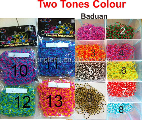 wholesale DIY rainbow colorful silicone loom band kit and refill DIY rainbow rubber band bracelet colorful latex free loom band