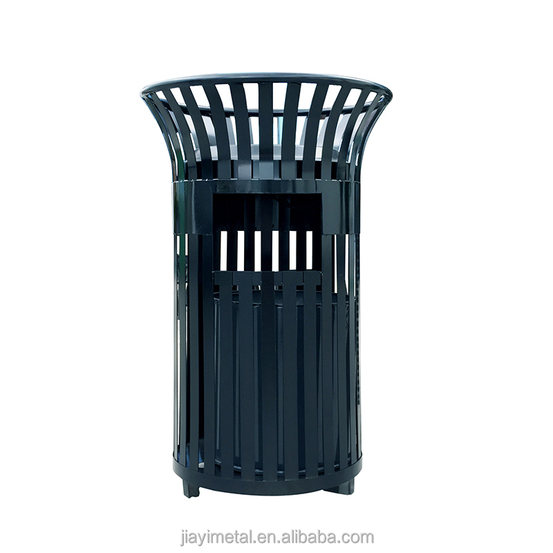 Factory design outdoor single bucket cast iron waste bin with ashtray