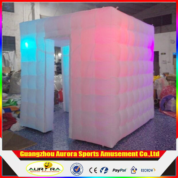 Customized Sales Multiple Colour LED Tube led inflatable photo booth With Free LED Light Including Air Blower