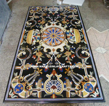 Whole Seller Black Marble Inlay Dining Table Top, Hand Made Marble Table Top