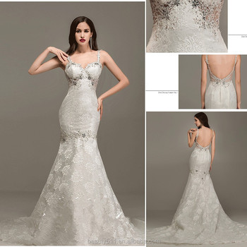 Modern Beaded Sweetheart Spaghetti Strap Sleeveless Sexy Back Floor-length Mermaid Lace wedding dresses WD1650