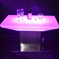 modern Led light furniture bar table led buffet table with glass top