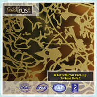 304ss colored gold acid etched mirror decorative stainless steel sheet