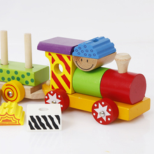 wholesale top quality kids assembling wooden building blocks train set educational toy