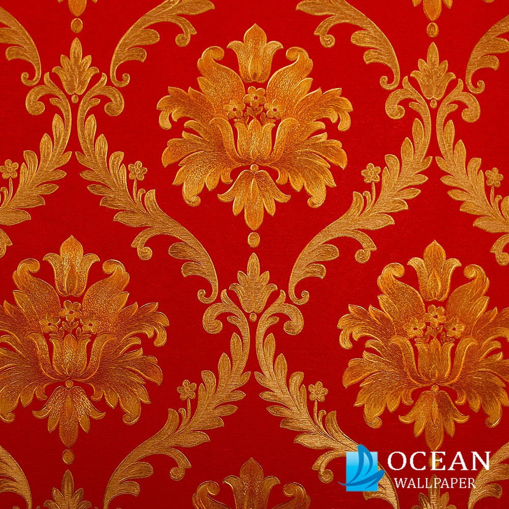 beautiful mid-scale simple damask design wallpaper in luxurious velvet touch flock on a lustre background