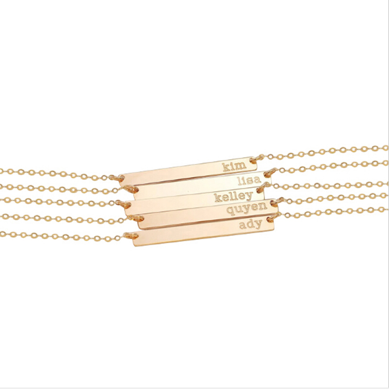 Personalized name Engraving initial Gold Plated Custom skinny Bar Necklace
