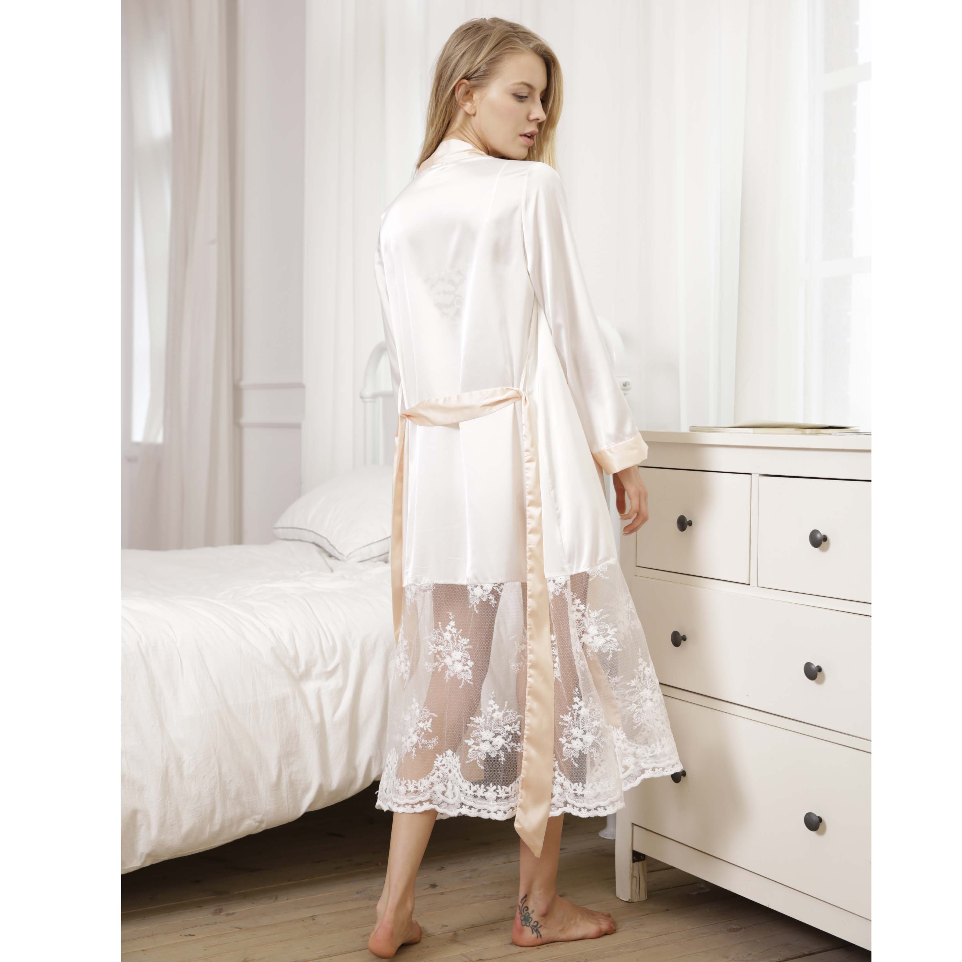 a186ded9dd Wholesale wedding Women super soft Silk Satin Robes Bridal Bridesmaid Bride  Gown Kimono Lace Robe Sleepwear