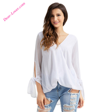 newest style pure color casual shirt fashion cutting blouse design