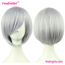 Cheap Price Short Style Grey Ombre Human Hair Full Lace Wig In Dubai