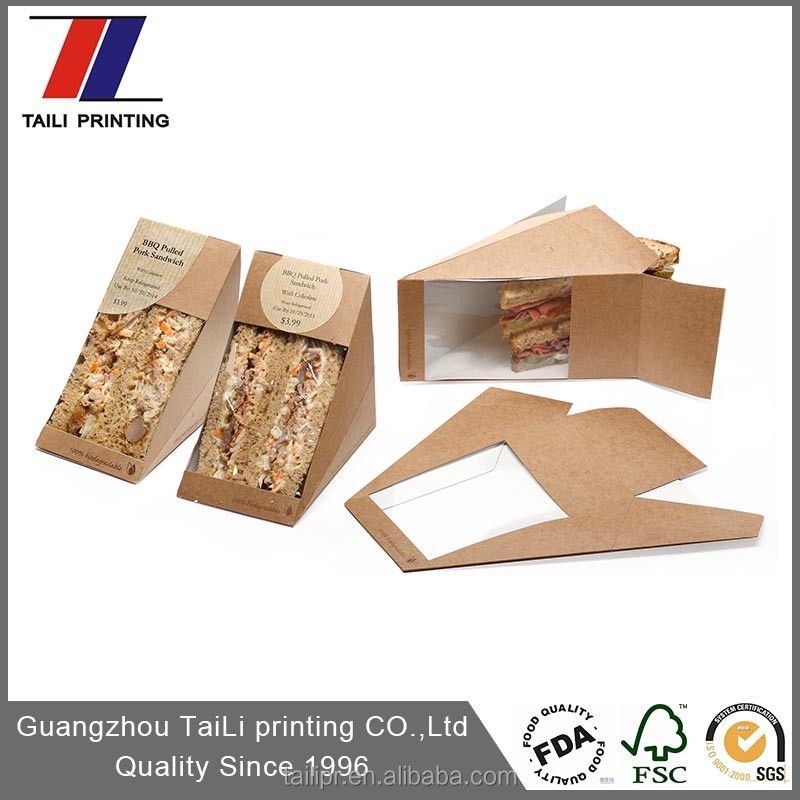 Hot sale disposable triangle paper sandwich box/kraft paper sandwich packaging