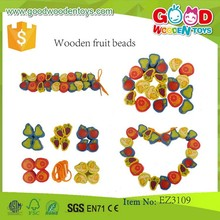 High Quality Colorful Fruit Beads of Child Funny DIY Toy Wooden Fruit Shape Beads