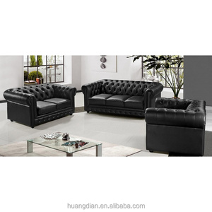 Buy furniture from China wooden black leather chesterfield 3+2+1 sofa
