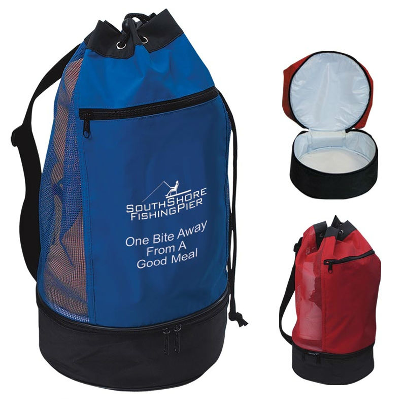 promotional polyester drawstring beach cooler bags