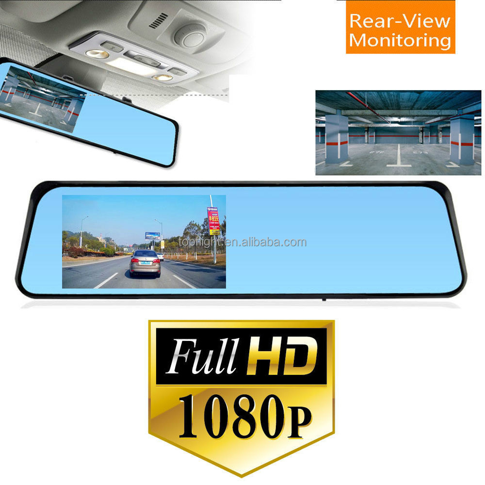 4.3 inch screen single lens rear view mirror mini hidden button camera car dv dvr camera