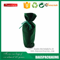 Exquisite recyclable drawstring green velvet wine bag