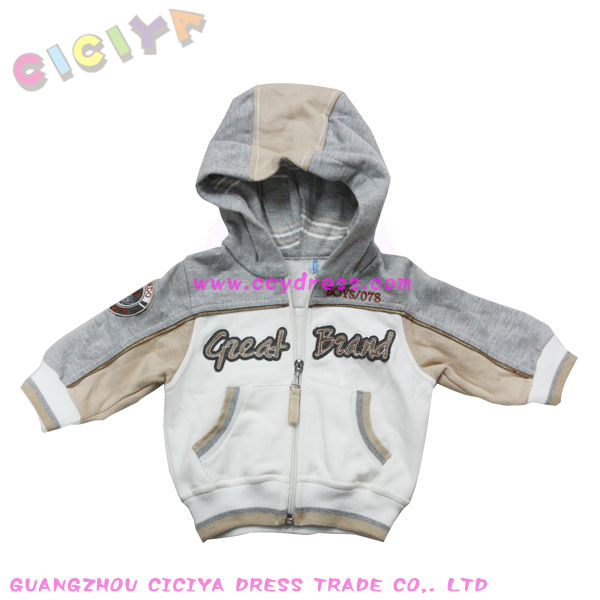 Customized winter baby boys 6-30M interlock cotton hoody jacket