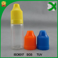 vape e-liquid plastic bottles with long thin tip childproof ejuice bottles 10ml with pet plastic long drip tip