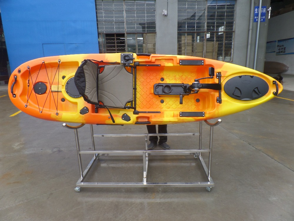 sit on top fishing ocean sea kayak pedal drive kayak / plastic 3 Person canoe