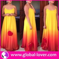 Best quality ladies bright color sleeveless maxi evening gowns designs