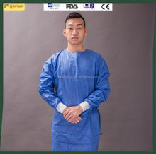 Disposable Dark Blue SMS Isolation Gown with Knitted Cuffs