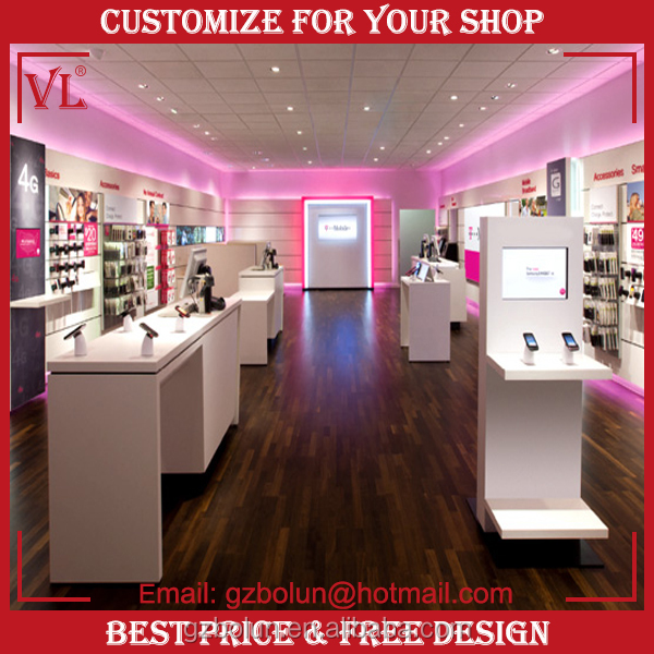 Vl New Style Mobile Shop Furniture Glass Showcase Cell Phone Counter Design