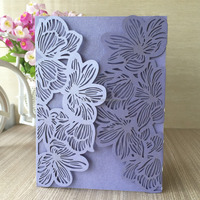 Novel flower decoration personalized fold wedding invitation card japanese style flower printing folding handmade greeting Card