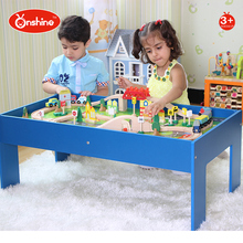 children toys new 2016 style 90 pcs wooden toy Train tracks set with table