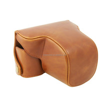 CC1372c PU leather case protective detachable bag for Olympus EP5 digital camera Brown