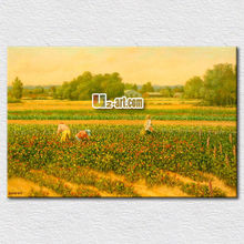 Autumn golden field image painted art