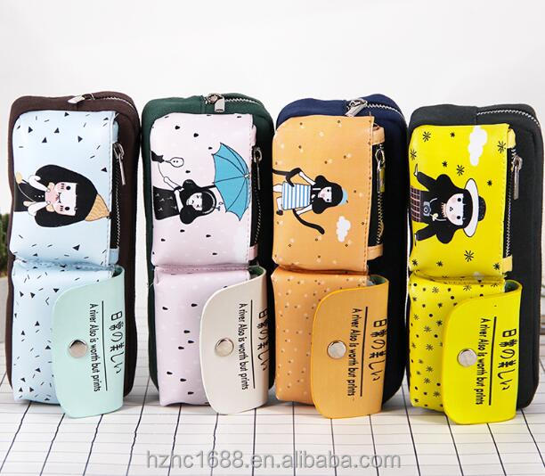 Canvas Multi-functional Stationery Fashion High Capacity Zipper Pencil Bag