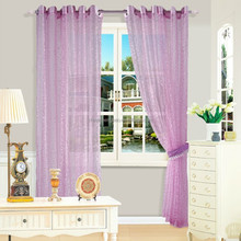 purple color jacquard sheer fabric rice paper curtains