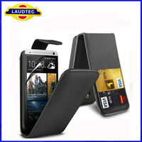 Credit Card Slot Flip Leather Case for HTC One M7 flip case cover for HTC One M7 Laudtec