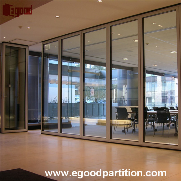 office used glass wooden sliding door hanging partition