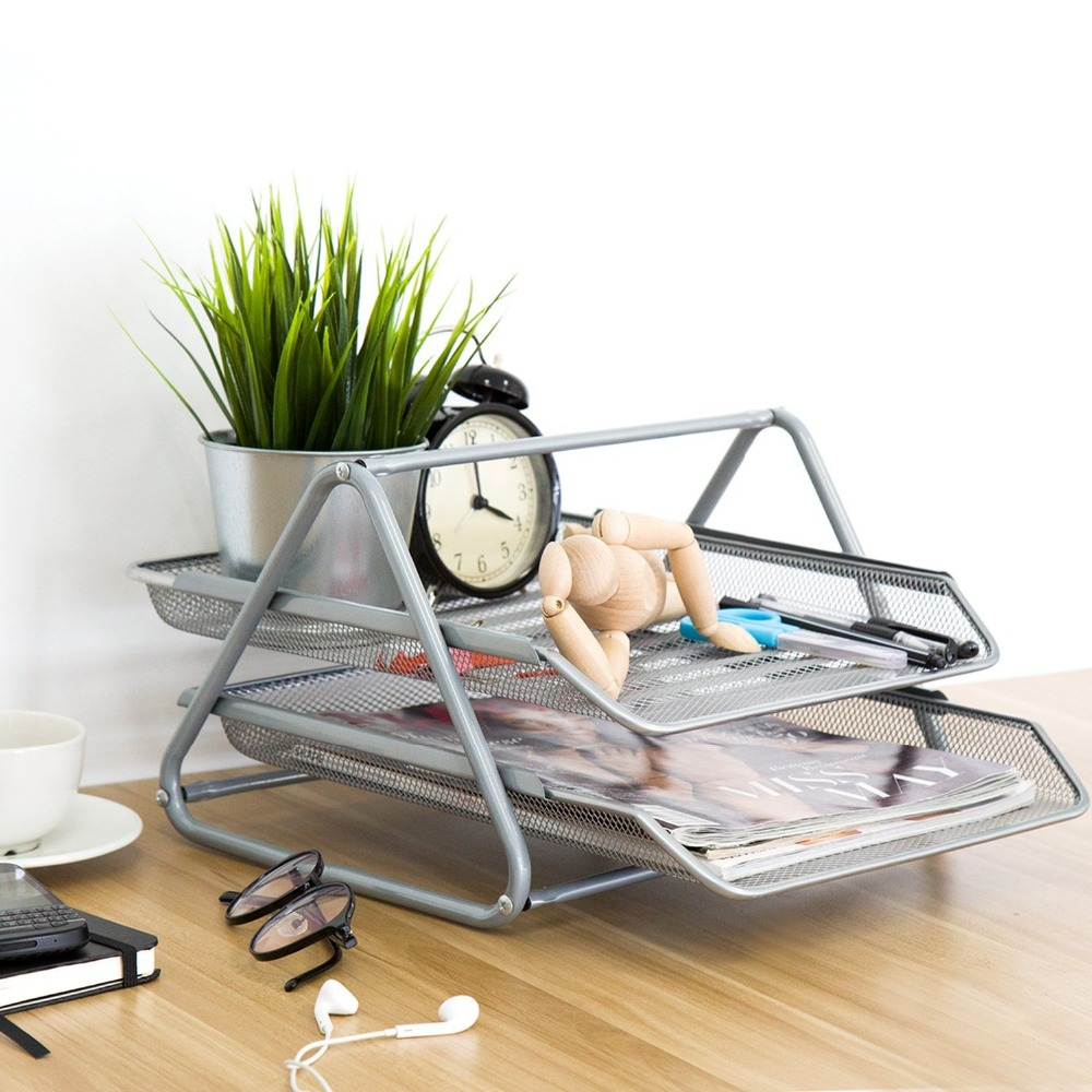 Metal Mesh 2 tier document tray A4 Paper Office Mesh Document File Paper Letter Tray Organizer Holder