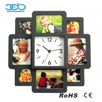 Square photo frame wall clock with multi photo frame