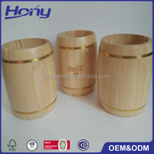Mini Empty Varnished Pine Wooden Cutlery Utensil Keg Barrel with 2 Gold Hoops