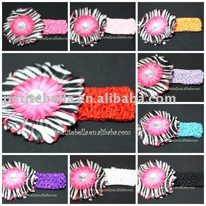 Headband match Hot Pink Zebra Crystal Daisy for Pettiskirt Hair Clip,Accessory,Gift for Pettiskirt Heeadband MAP000245