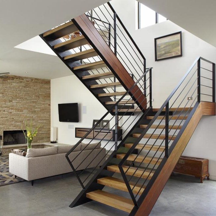 Foshan Factory L Shape Wrought Iron Staircase Handrail Design Indoor Wooden Stairs Steps