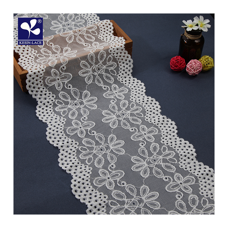 Geometric Elastic Tulle Wide Front Jacquard Flat White Lace Trim For Intimate Apparel