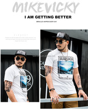 OEM large printing mens polo t-shirt beach sea round neck short sleeve 100% cotton wholesale stock custom big size men t shirt
