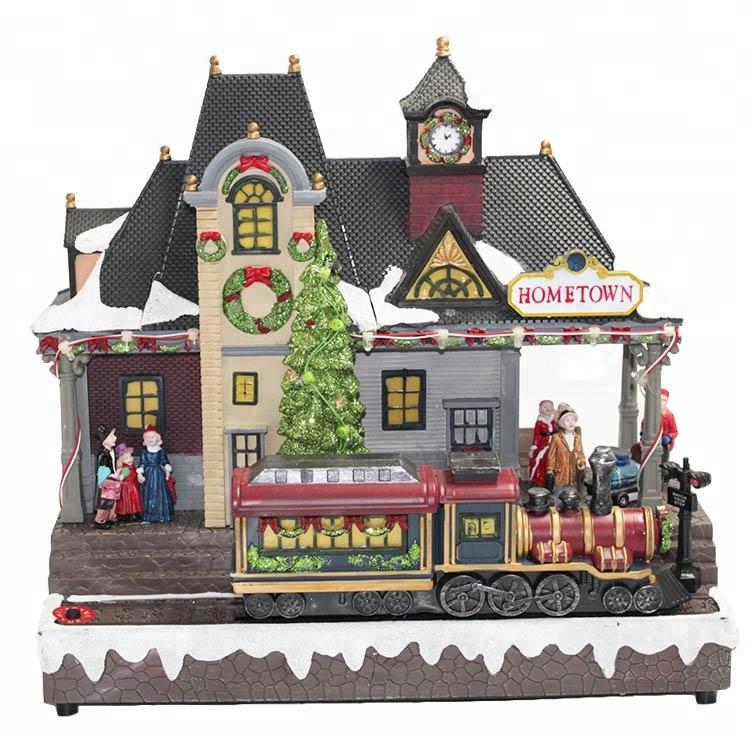 Promotional Plastic handicrafts led lighted Christmas Village house <strong>Decoration</strong> with train