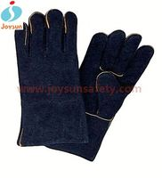 cow split leather welding work glove reinforced black led gloves