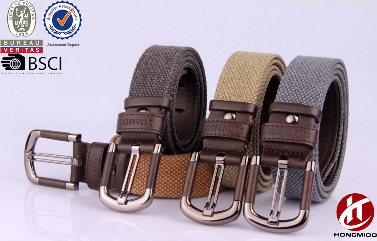 Mens Womens Pin Buckle Multicolor Canvas Web Leather Belts