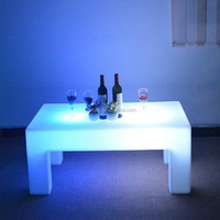 Led long square table RGB bar furniture plastic glow table pub club hotel table