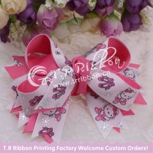 big ribbon bow with Hello Kitty hair accessories with silver foil about 4inches