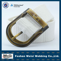 White Style Jean Buckle Webbing Belts For Kids