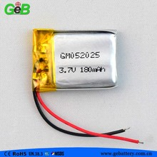 3.7V 180mah rechargeable lithium polymer battery 502025 lipo rechargeable cell