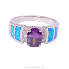 Blue Fire Opal Purple Zircon Cubic Zirconia Silver Color Ring Wholesale for Women Jewelry Ring