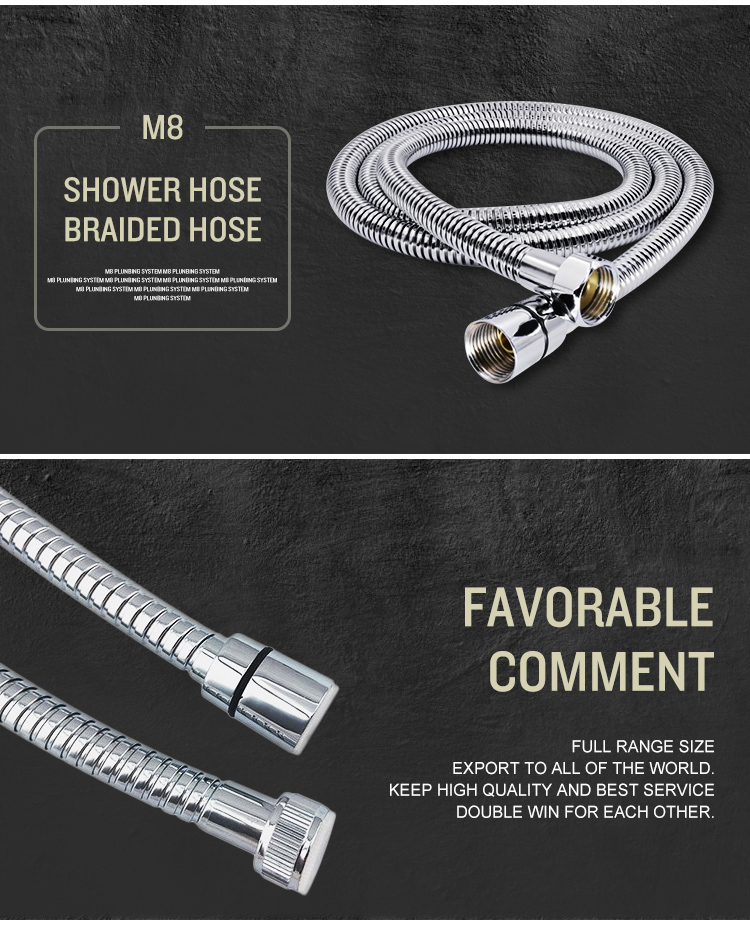 high quality stainless steel golden shower hose 1.5m