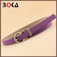 high quality purple thin pu genuine leather belt uniform accessories for women's dress